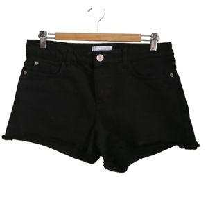 3/30$ MANGO Black Button Fly Raw Hem Denim Shorts